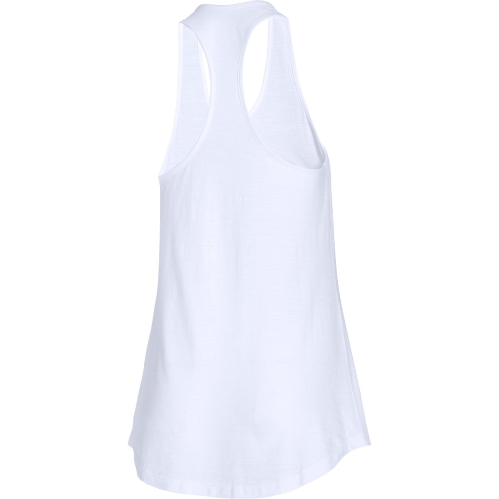 Under Armour Women's White/True Grey Heather Stadium Tank