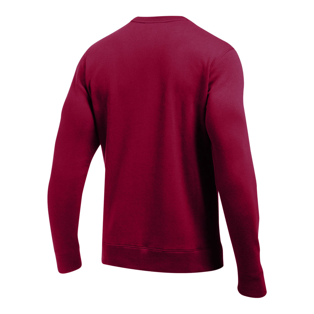 Under Armour Men's Maroon Hustle Fleece Crew Neck Sweatshirt