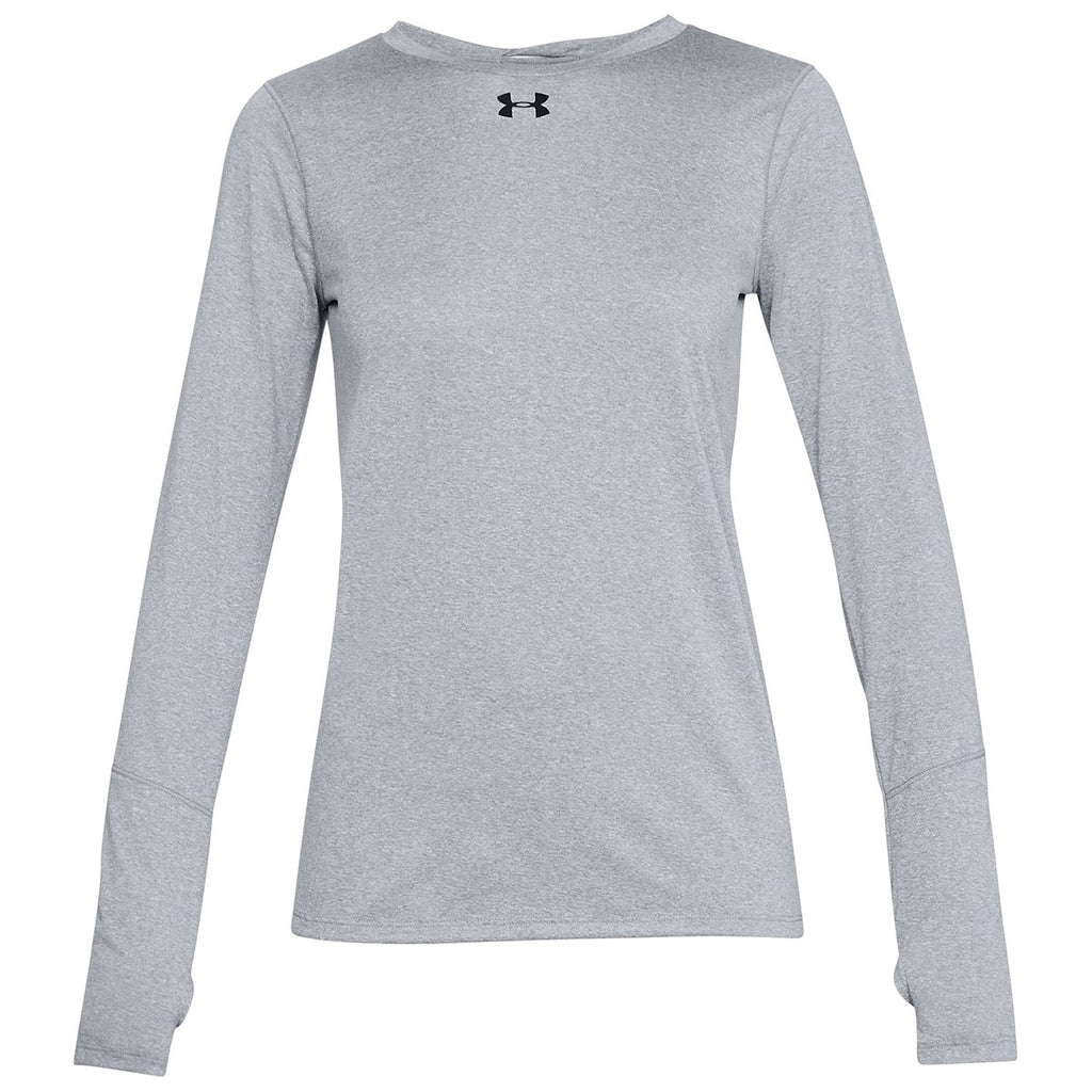17801407 Under Armour Women's True Grey Heather Locker Tee Long Sleeve 2.0. ADD YOUR  LOGO