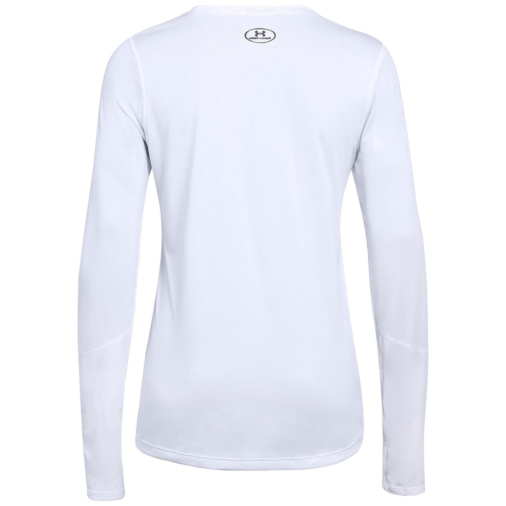 Under Armour Women's White Locker Tee Long Sleeve 2.0