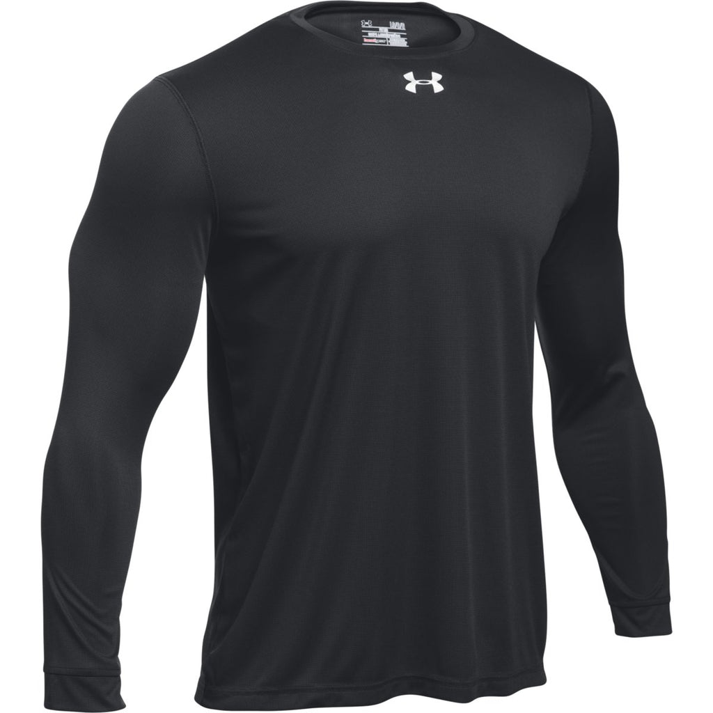 Adidas men 39 s black long sleeve logo tee for Under armor business shirts