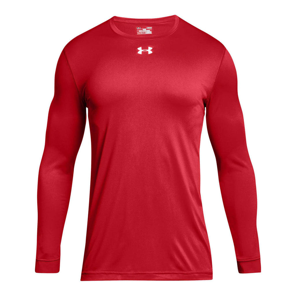 Under armour men 39 s red 2 0 long sleeve locker tee for Do under armour shirts run small