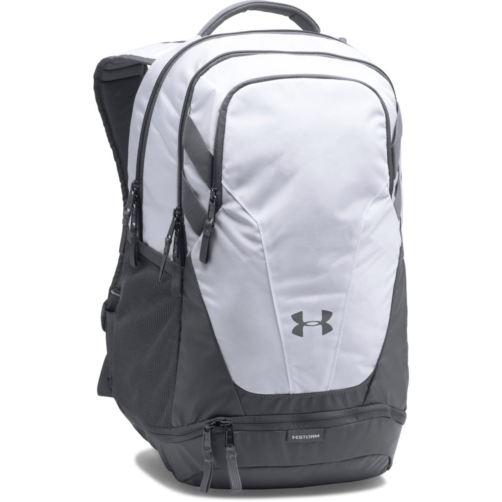 Under Armour White UA Team Hustle 3.0 Backpack. ADD YOUR LOGO 66bed2abd5d0f