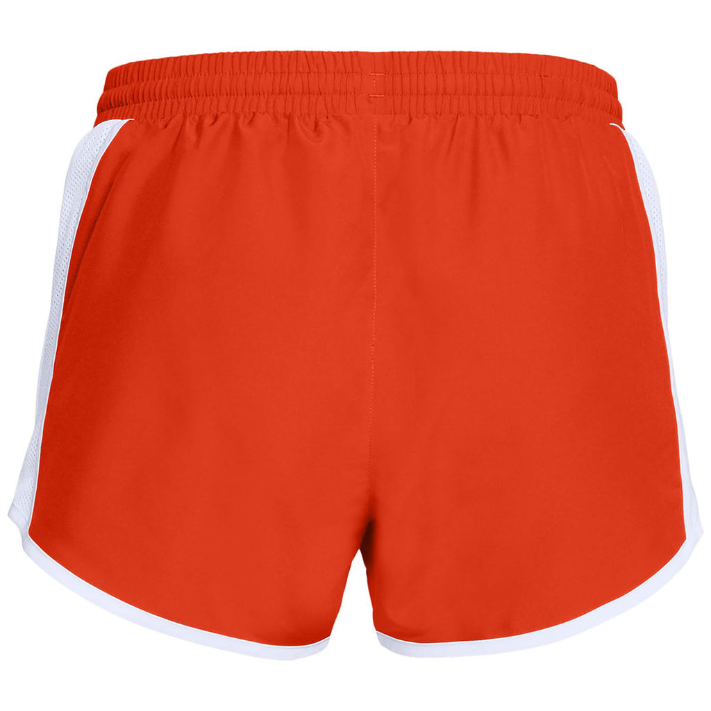 Under Armour Women's Dark Orange Team Fly By Shorts
