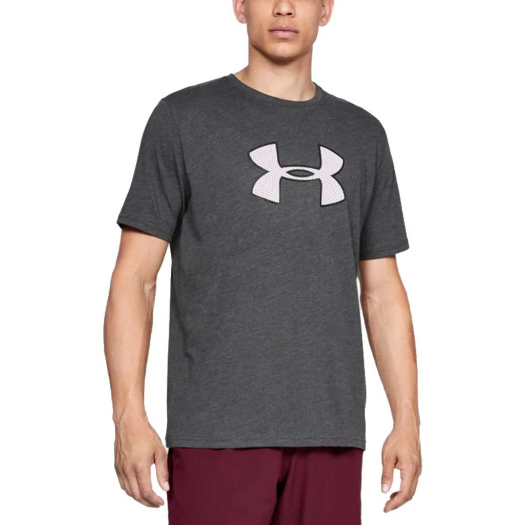 Under Armour Men's Charcoal Medium Heather Big Logo Short Sleeve