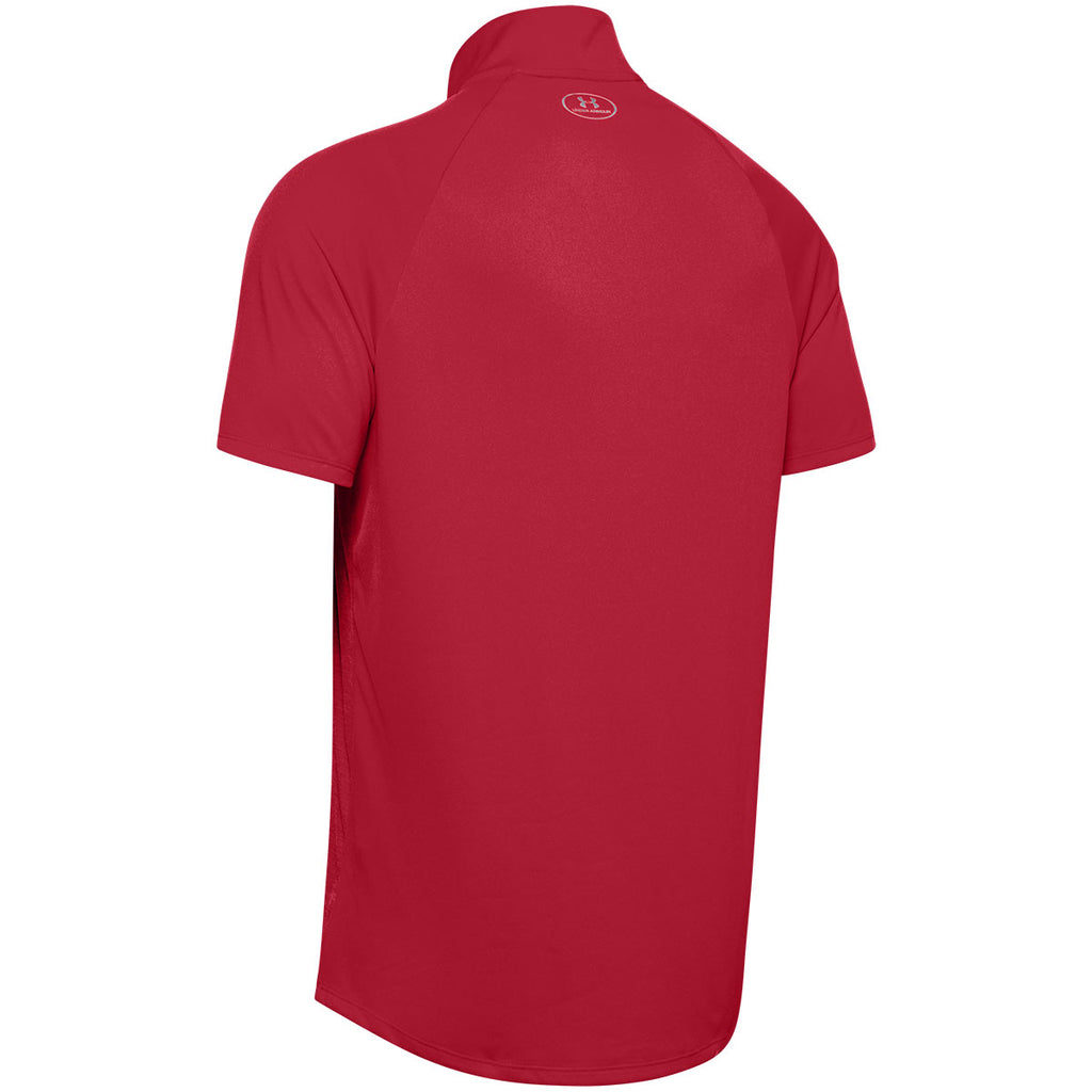 Under Armour Men's Red Locker Short Sleeve 1/4 Zip