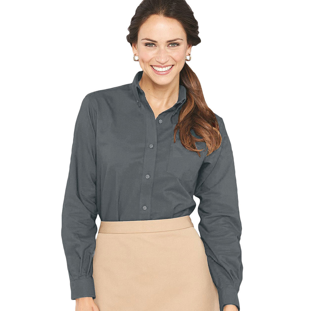 Van Heusen Women's Dark Grey Long Sleeve Oxford Shirt-Alpha Sized