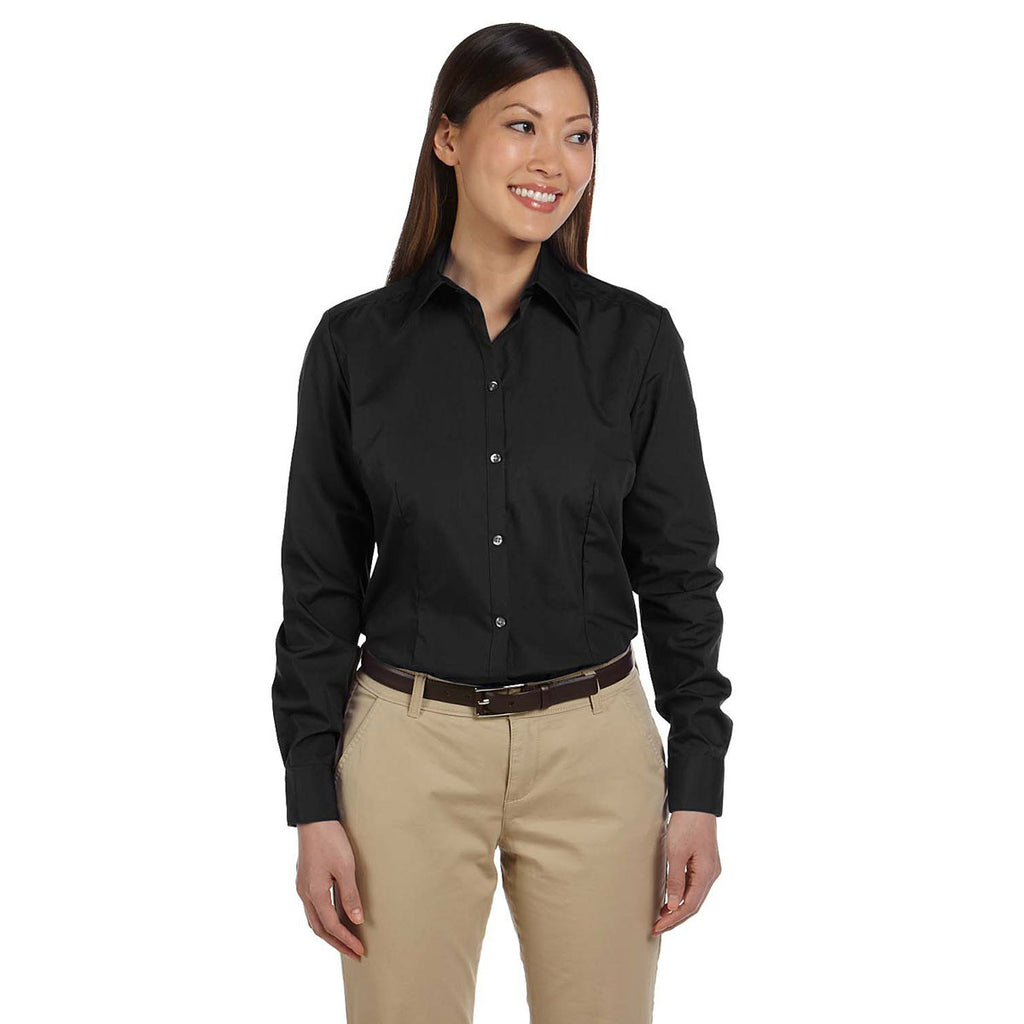 Van Heusen Women's Black Silky Poplin Dress Shirt