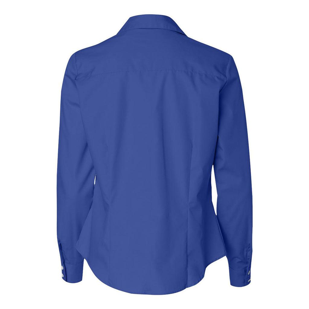 Van Heusen Women's Ultra Blue Silky Poplin Dress Shirt