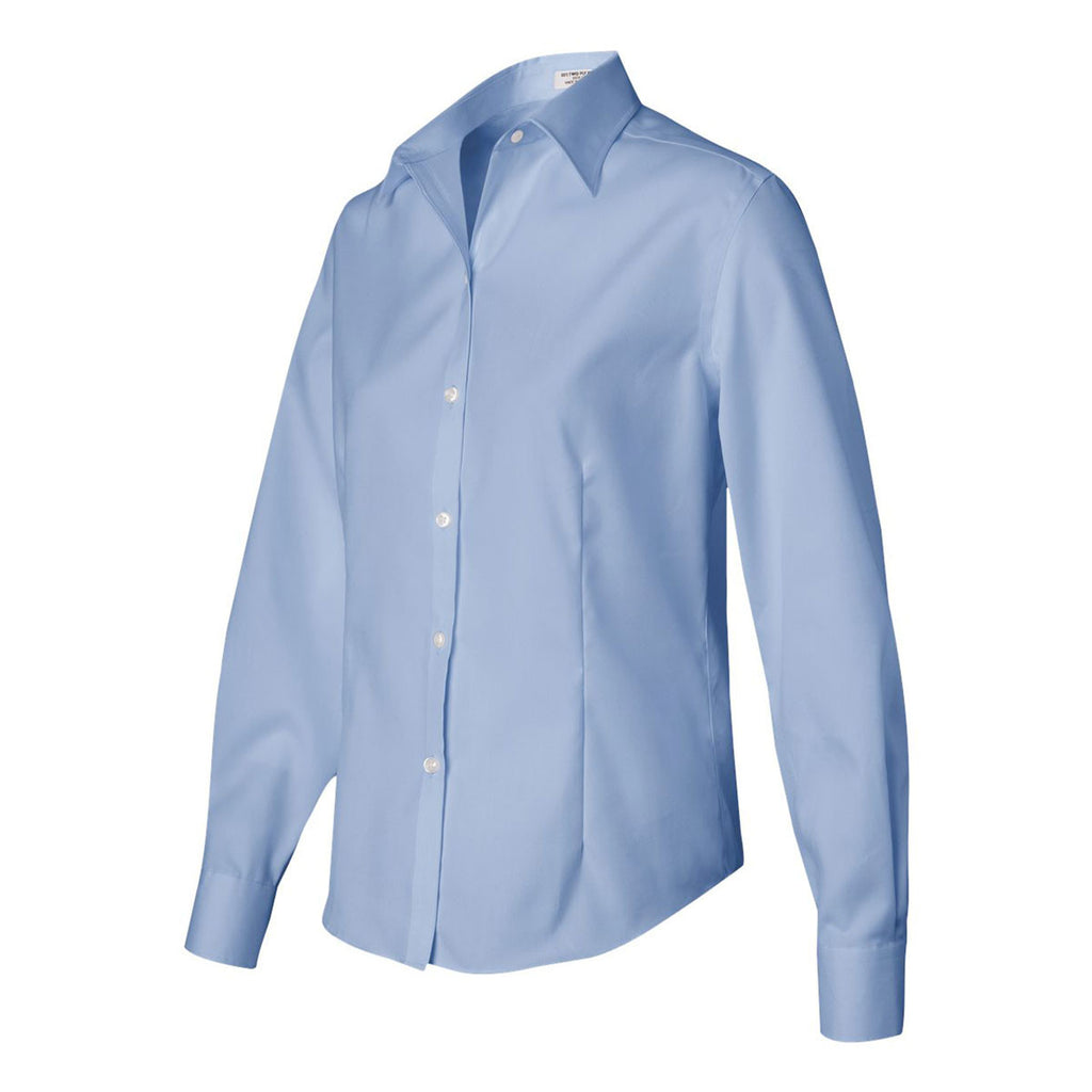 Van Heusen Women's Blue Mist Non-Iron Pinpoint Dress Shirt