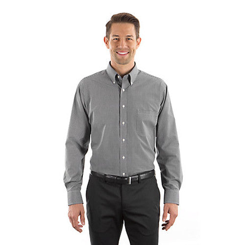 Van Heusen Men's Black Gingham Long Sleeve Dress Shirt