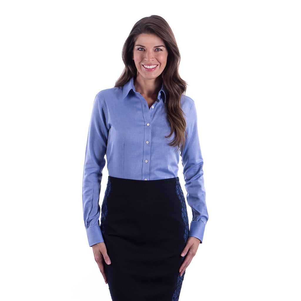 d03ad365d1 Van Heusen Women s Blue Ocean Performance Twill Dress Shirt
