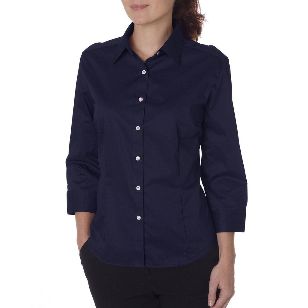 Van Heusen Women's Navy 3/4 Sleeve Twil Dress Shirt