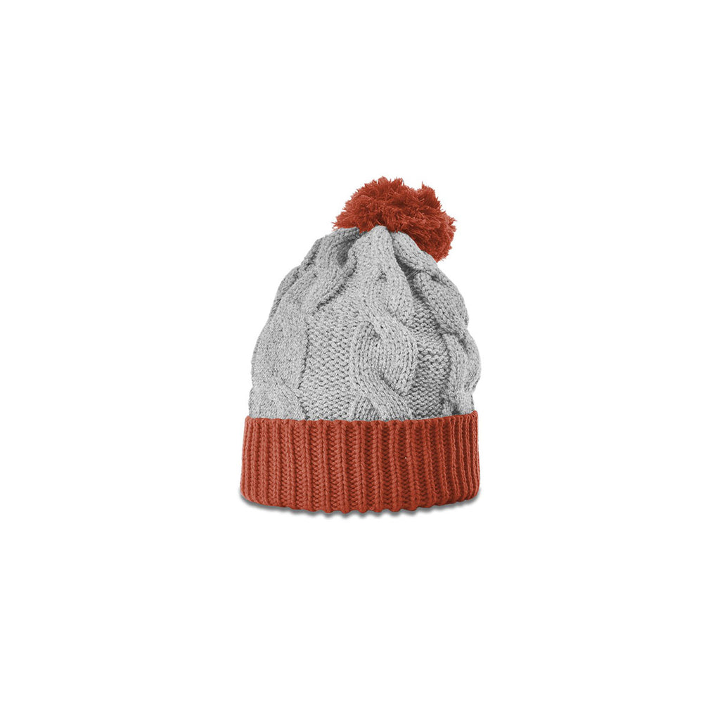 262afd9237f Richardson Heather Grey Rust Chunk Twist Knit Beanie with Cuff