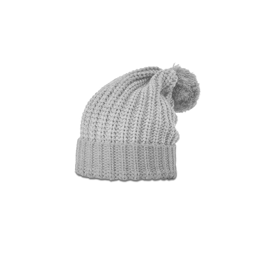 56349cf0169 Richardson Heather Grey Chunk Pom Beanie with Cuff