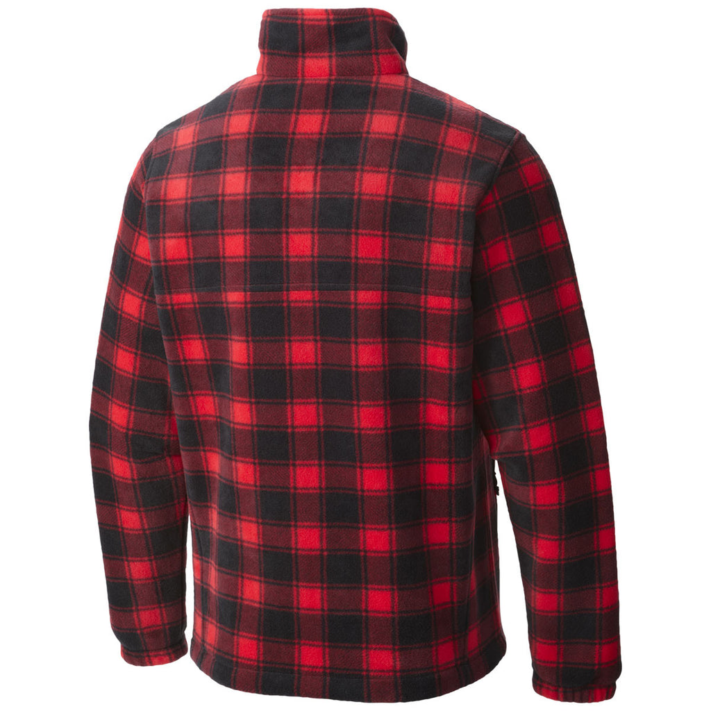 Columbia Men's Bright Red Lumberjack Printed Full-Zip Steens Mountain Fleece Jacket