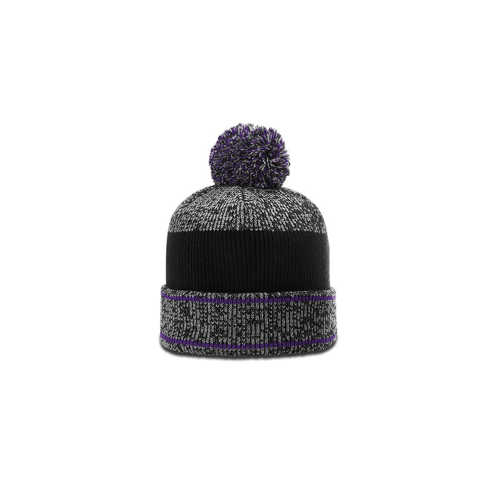 05d4ad245aa Richardson Grey Purple Black Heathered Pom Beanie with Cuff