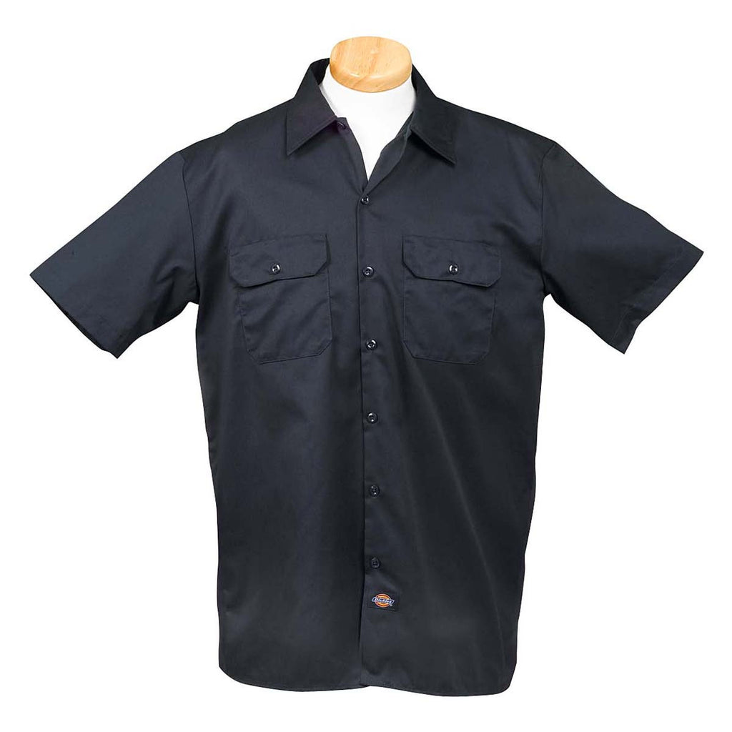 Dickies men 39 s dark navy oz short sleeve work shirt for Embroidered dickies work shirts