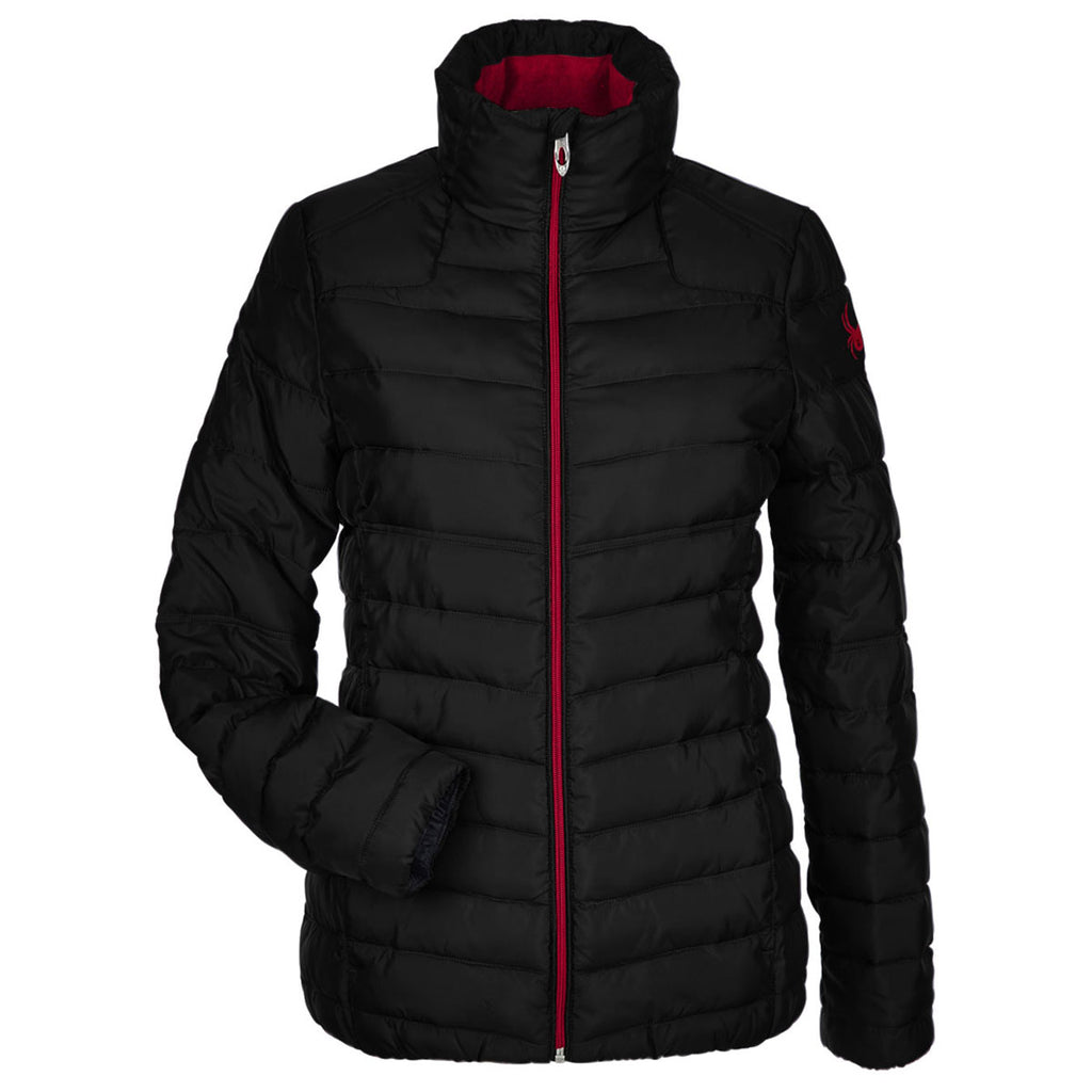 Spyder Women S Black Red Supreme Puffer Jacket Add Your Logo