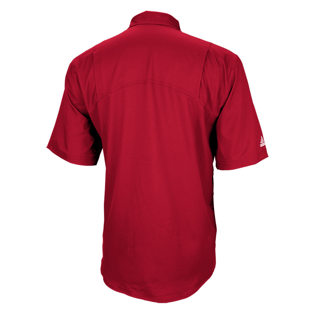 adidas Men's Red Climalite Two-a-Days Full Button Polo