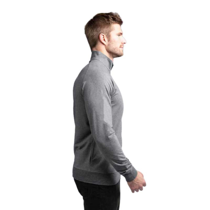 TravisMathew Men's Zachary No Logo Heather Dark Shadow Quarter Zip
