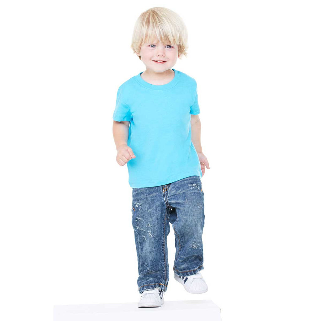 Bella canvas toddler 39 s turquoise jersey short sleeve t shirt for Toddler custom t shirts no minimum