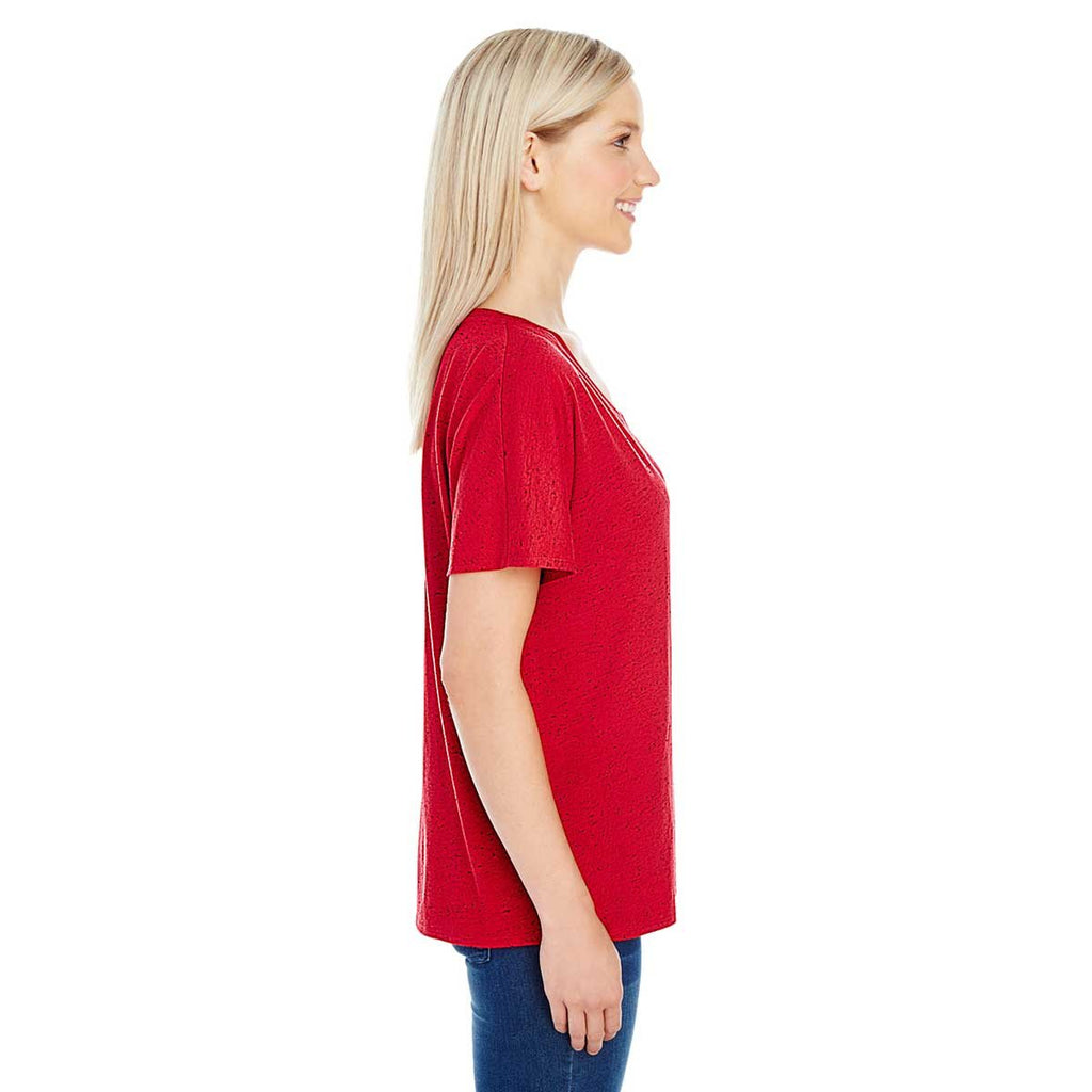 Threadfast Women's Red Fleck Triblend Short-Sleeve V-Neck T-Shirt