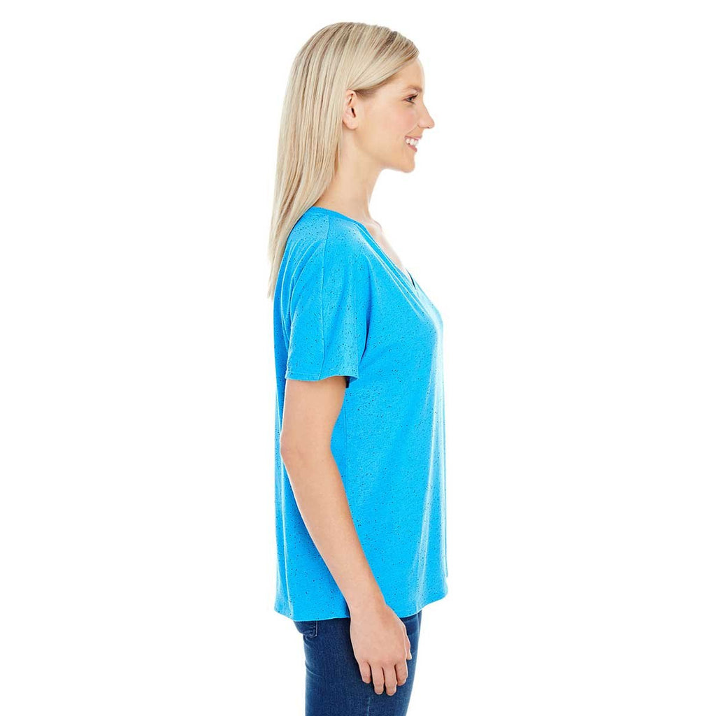 Threadfast Women's Turquoise Fleck Triblend Short-Sleeve V-Neck T-Shirt