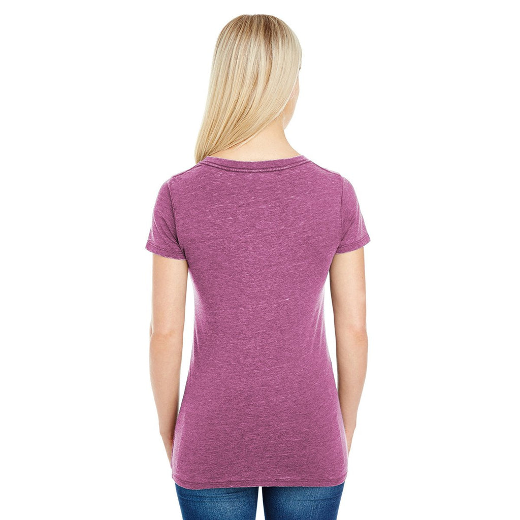 Threadfast Women's Vintage Wine Dye Short-Sleeve V-Neck T-Shirt