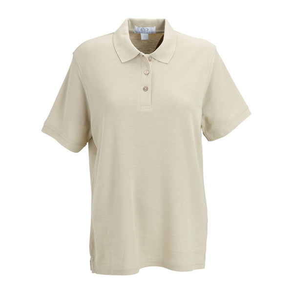 Vantage women 39 s stone soft blend double tuck pique polo for No tuck golf shirts