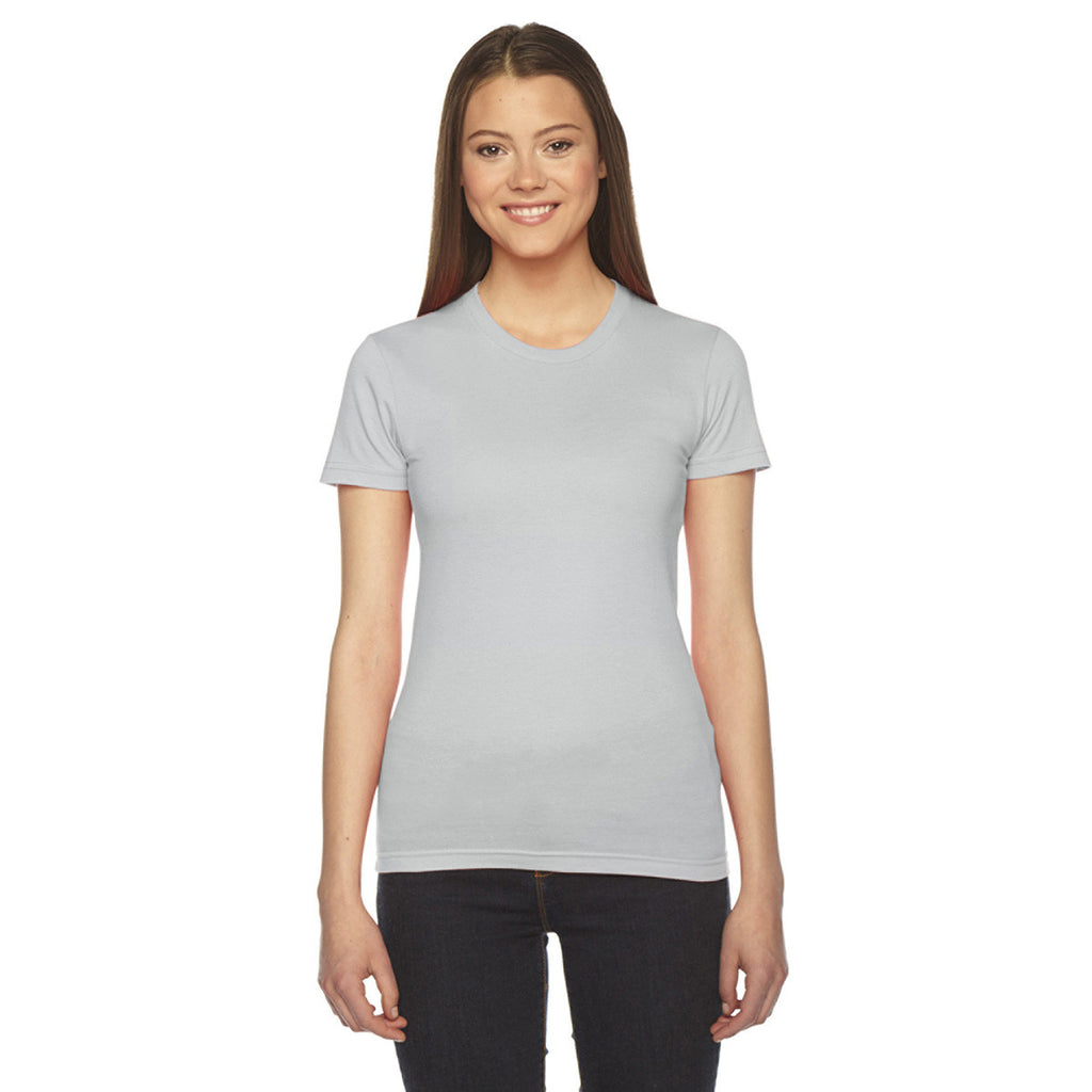 American apparel women 39 s new silver fine jersey short for American apparel men s fine jersey short sleeve tall t shirt