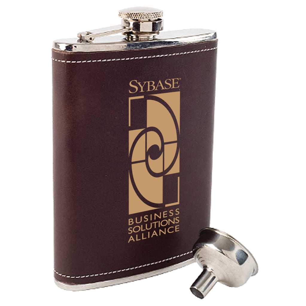 Coleman Leather Covered Tailgater Silver Flask