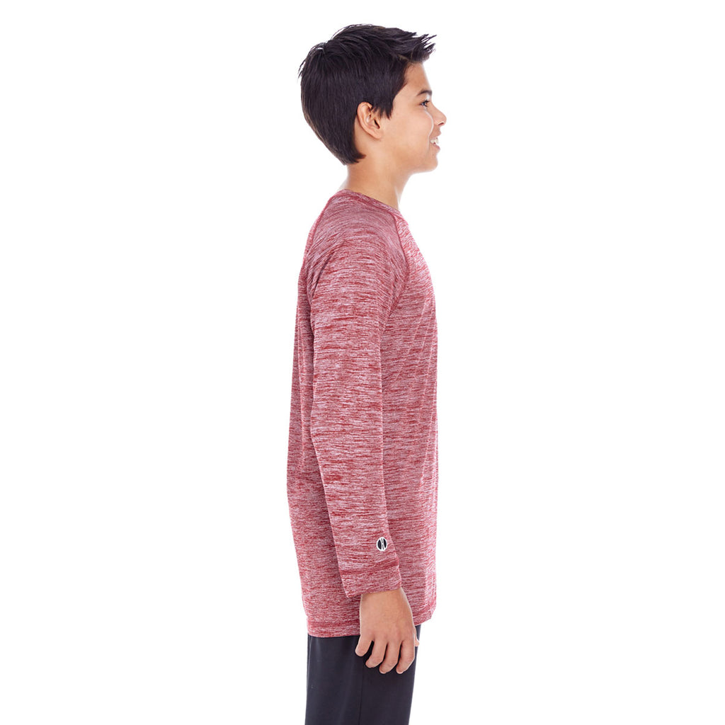 Holloway Youth Cardinal Heather Electrify 2.0 Long-Sleeve