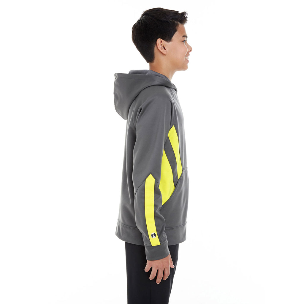 Holloway Youth Carbon/Bright Yellow Argon Hoodie
