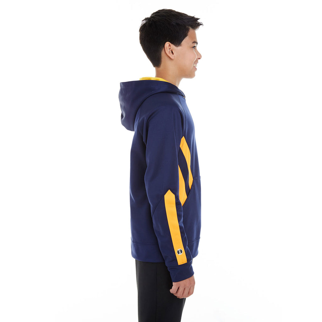 Holloway Youth Navy/Light Gold Argon Hoodie
