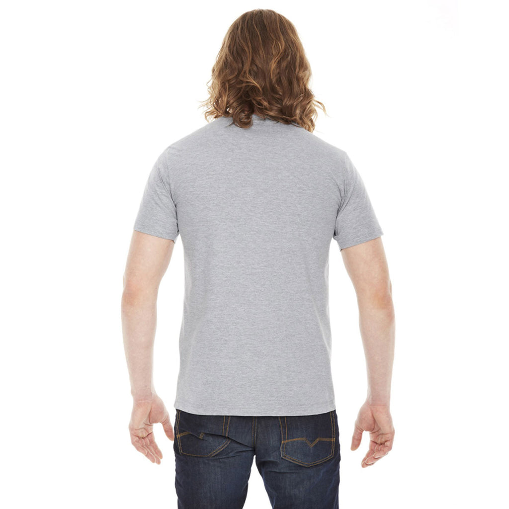 American Apparel Unisex Heather Grey Fine Jersey Pocket Short Sleeve T-Shirt