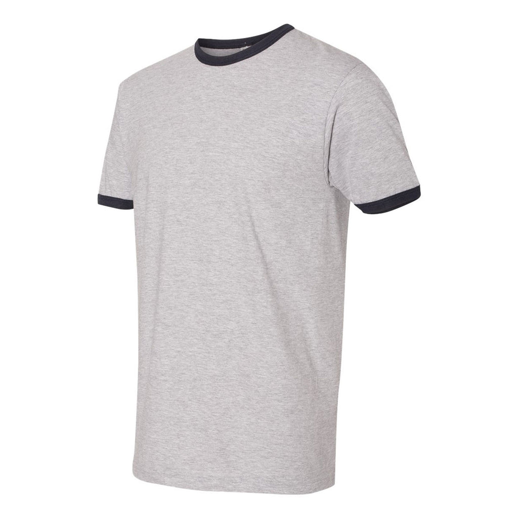 American Apparel Unisex Heather Grey/Navy Fine Jersey Ringer T-Shirt