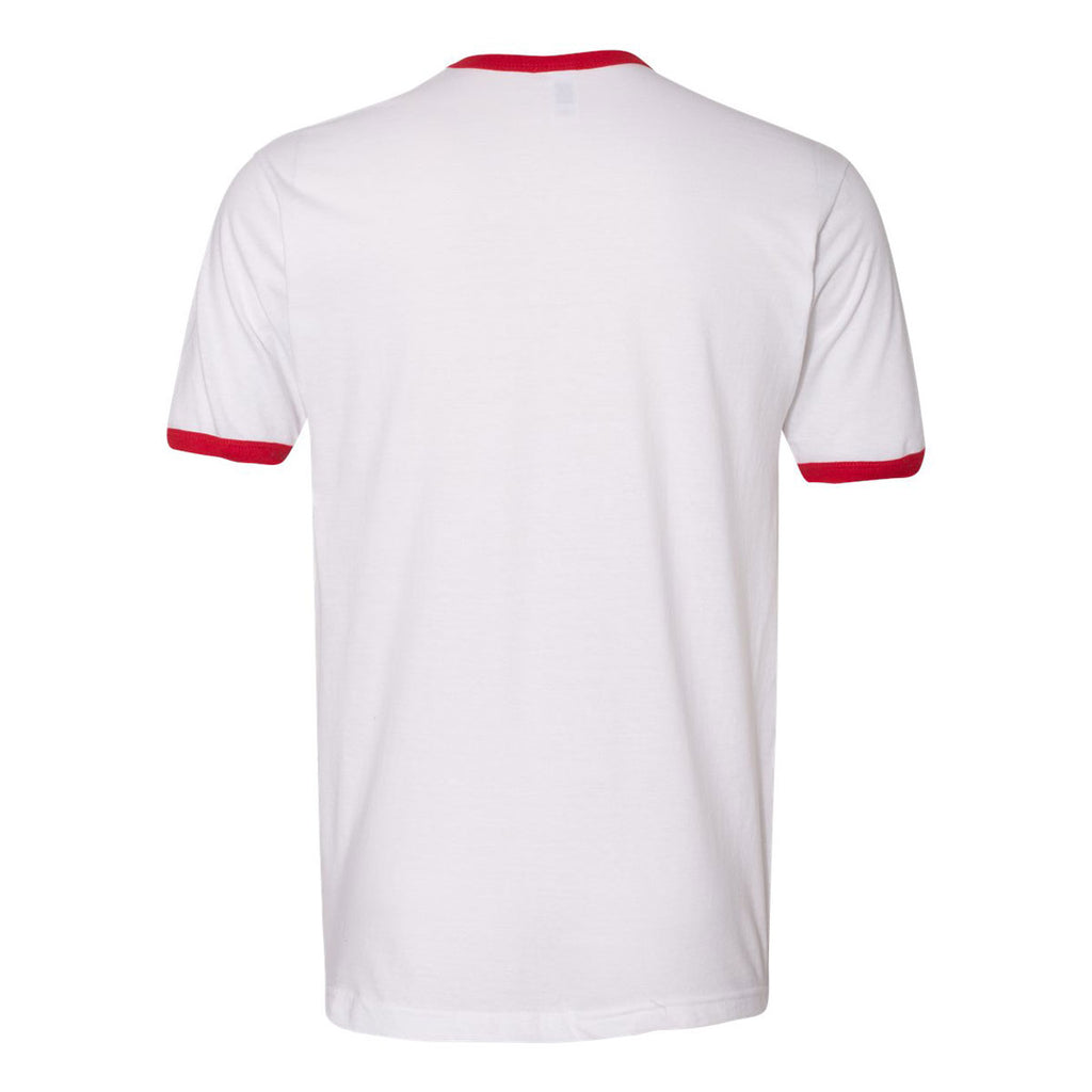 American Apparel Unisex White/Red Fine Jersey Ringer T-Shirt