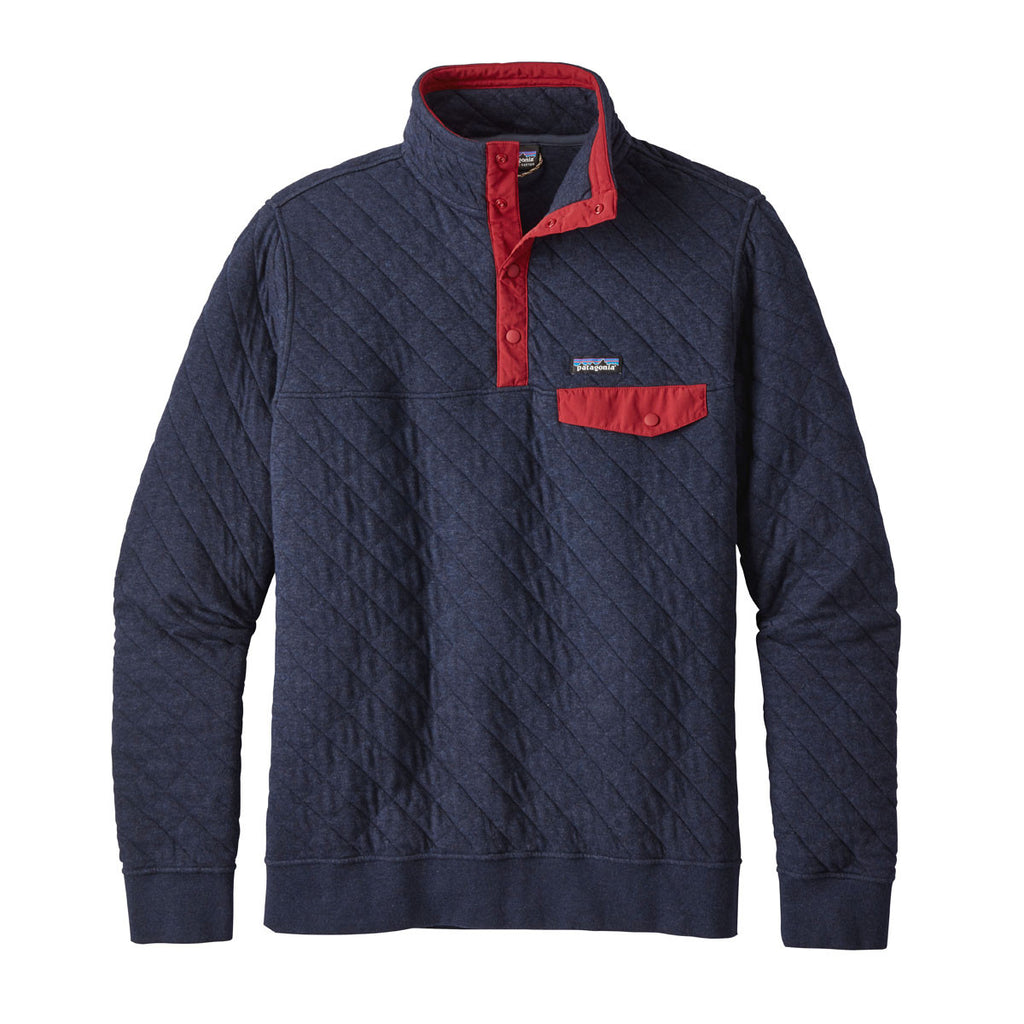 Patagonia Men S Cotton Quilt Snap T Pullover Bay Blue: Patagonia Men's Navy Blue Cotton Quilt Snap-T Pullover