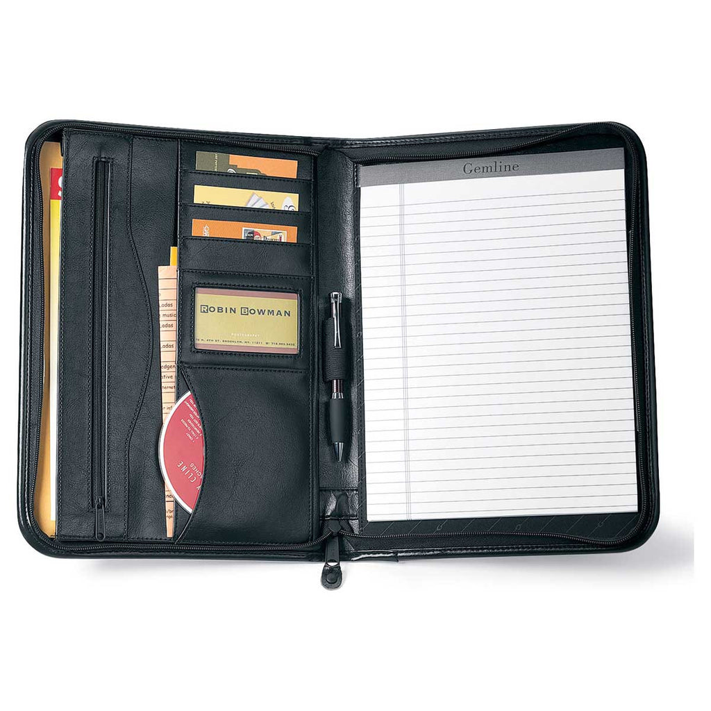 Gemline Black Deluxe Executive Vintage Leather Padfolio
