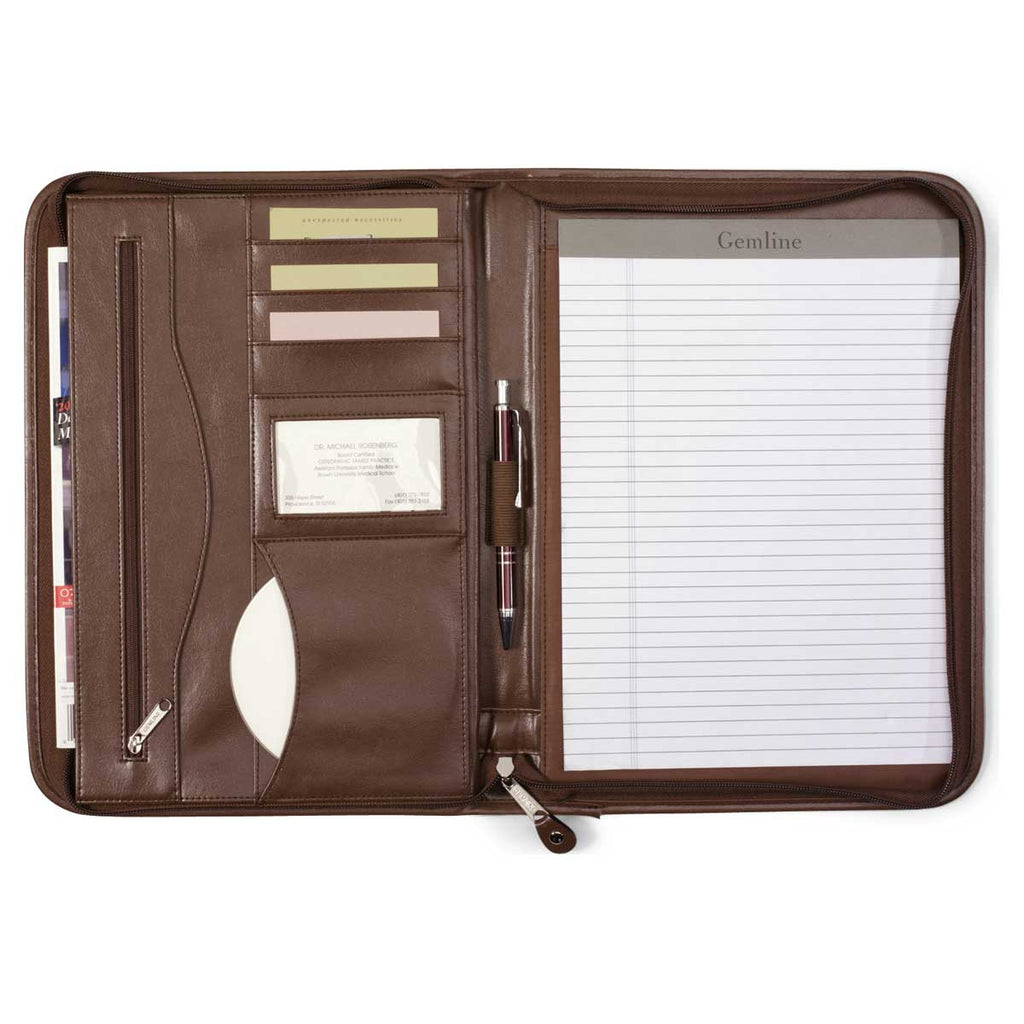 Gemline Brown Deluxe Executive Vintage Leather Padfolio