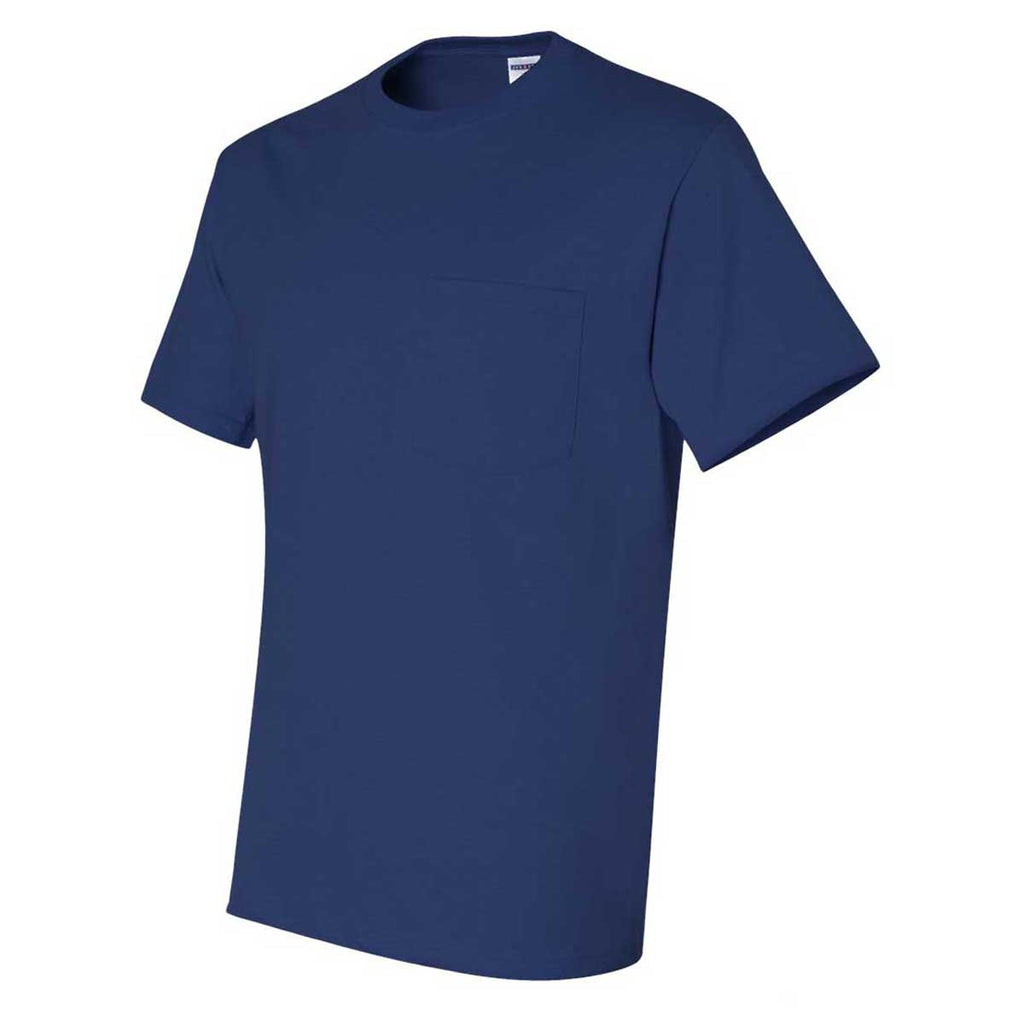 Jerzees Men's Royal Dri-Power 50/50 T-Shirt with a Pocket