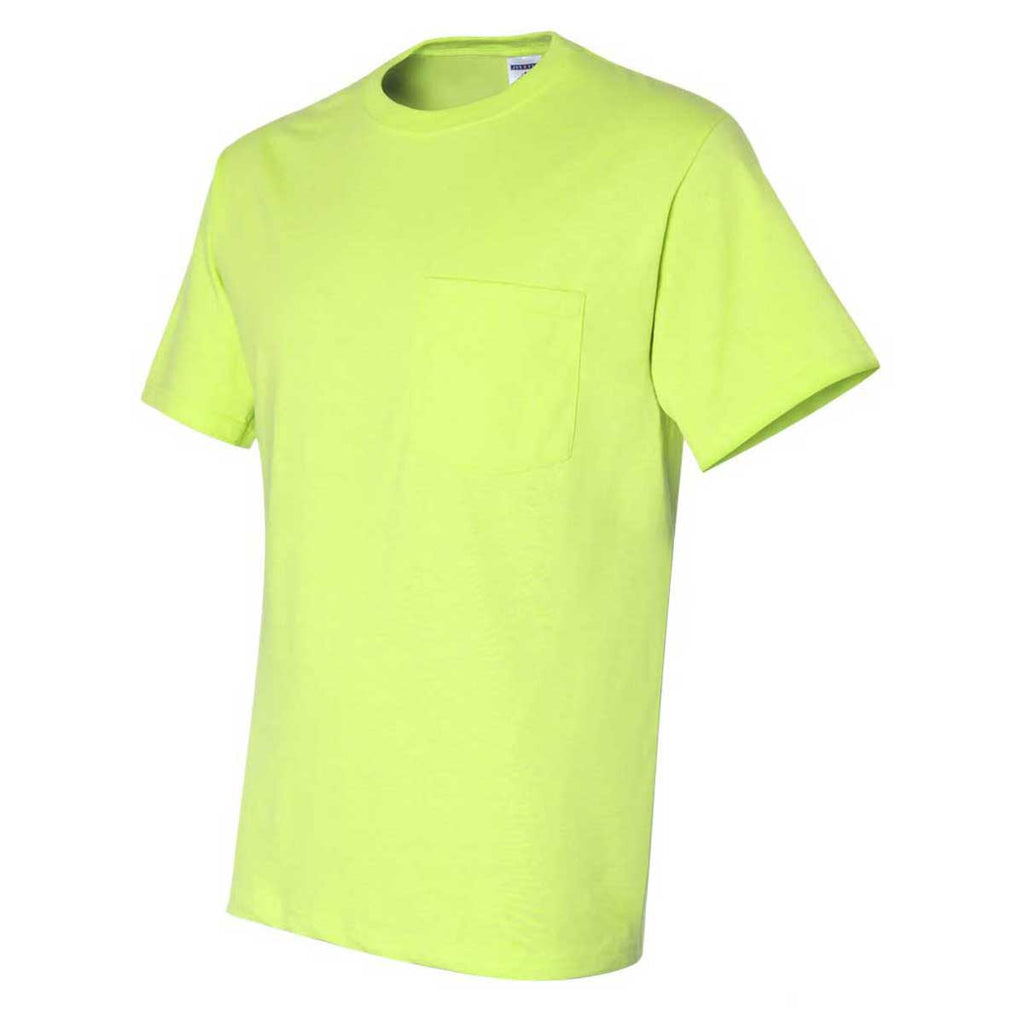 Jerzees Men's Safety Green Dri-Power 50/50 T-Shirt with a Pocket