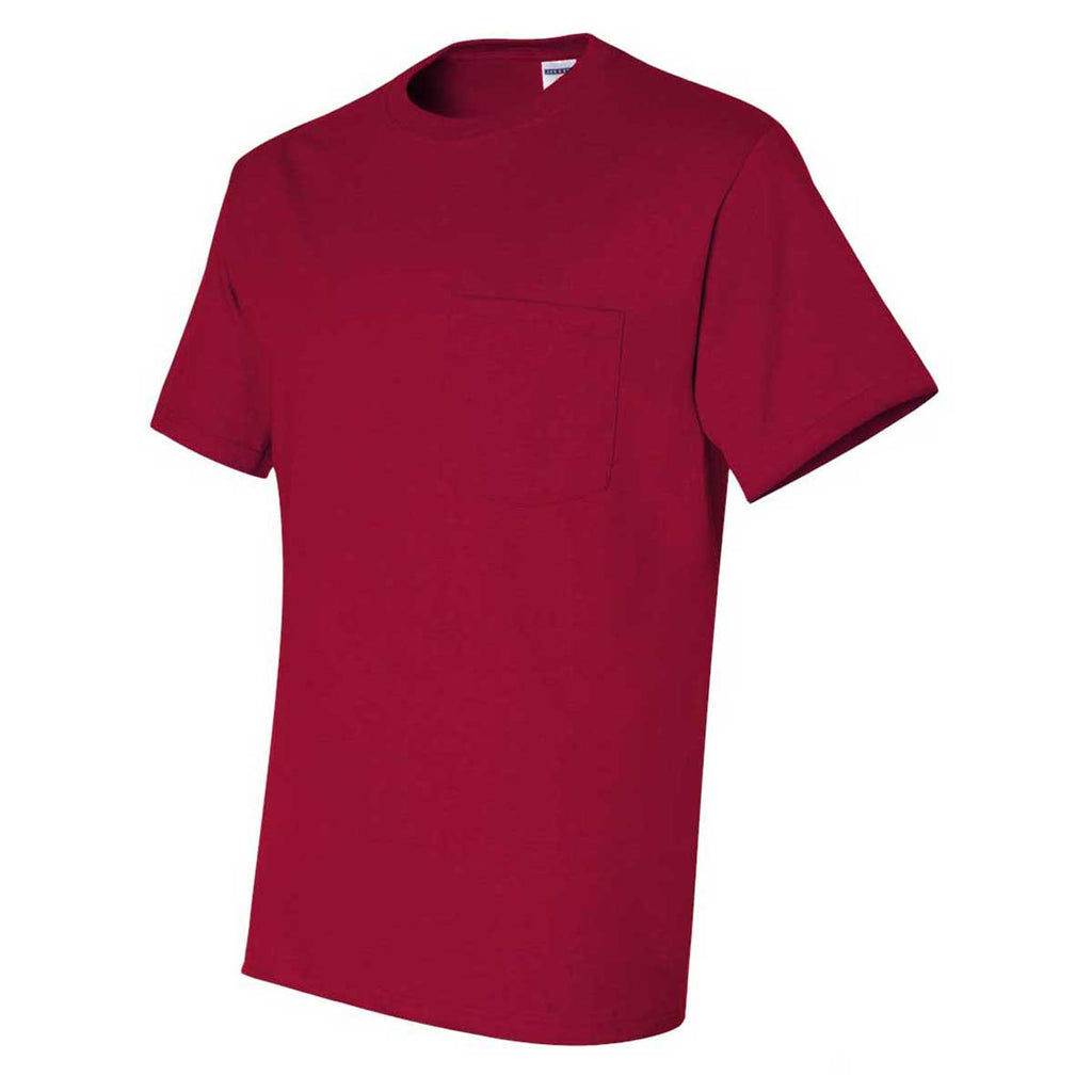 Jerzees Men's True Red Dri-Power 50/50 T-Shirt with a Pocket