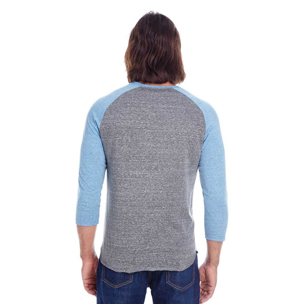 Threadfast Unisex Grey/Royal Triblend 3/4-Sleeve Raglan