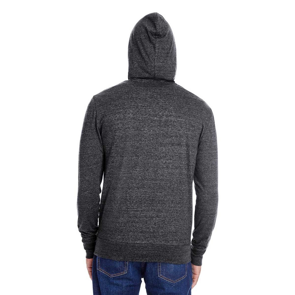 Threadfast Unisex Black Triblend Full-Zip Light Hoodie