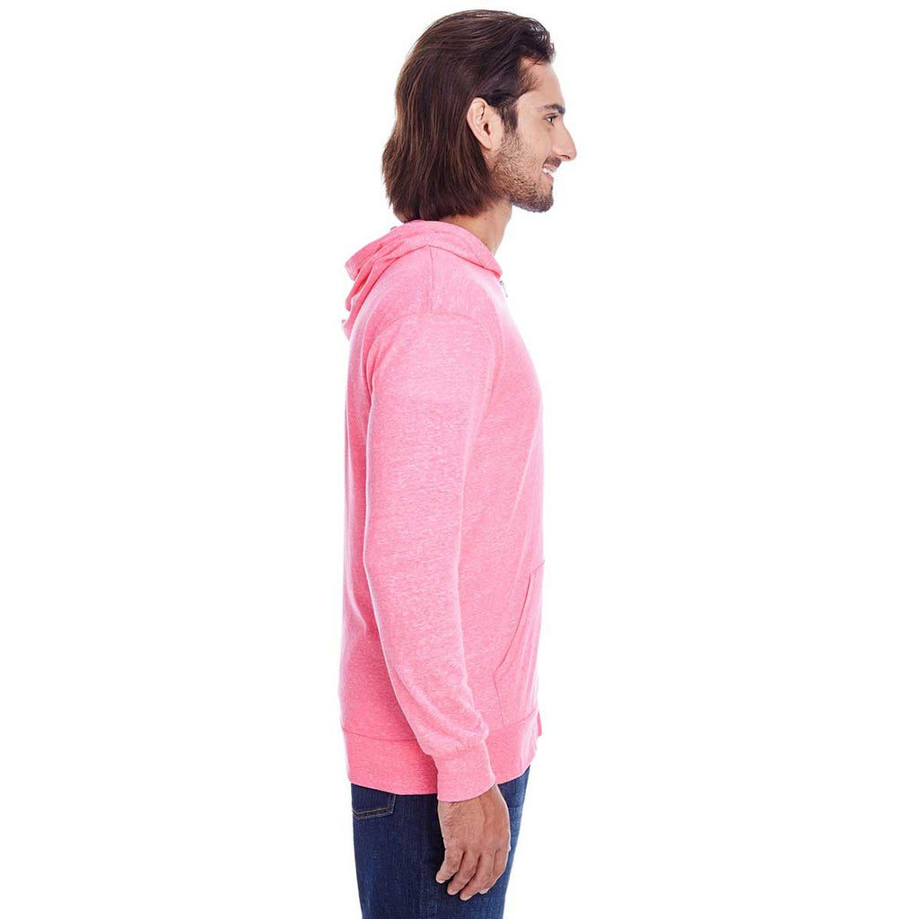 Threadfast Unisex Neon Pink Triblend Full-Zip Light Hoodie