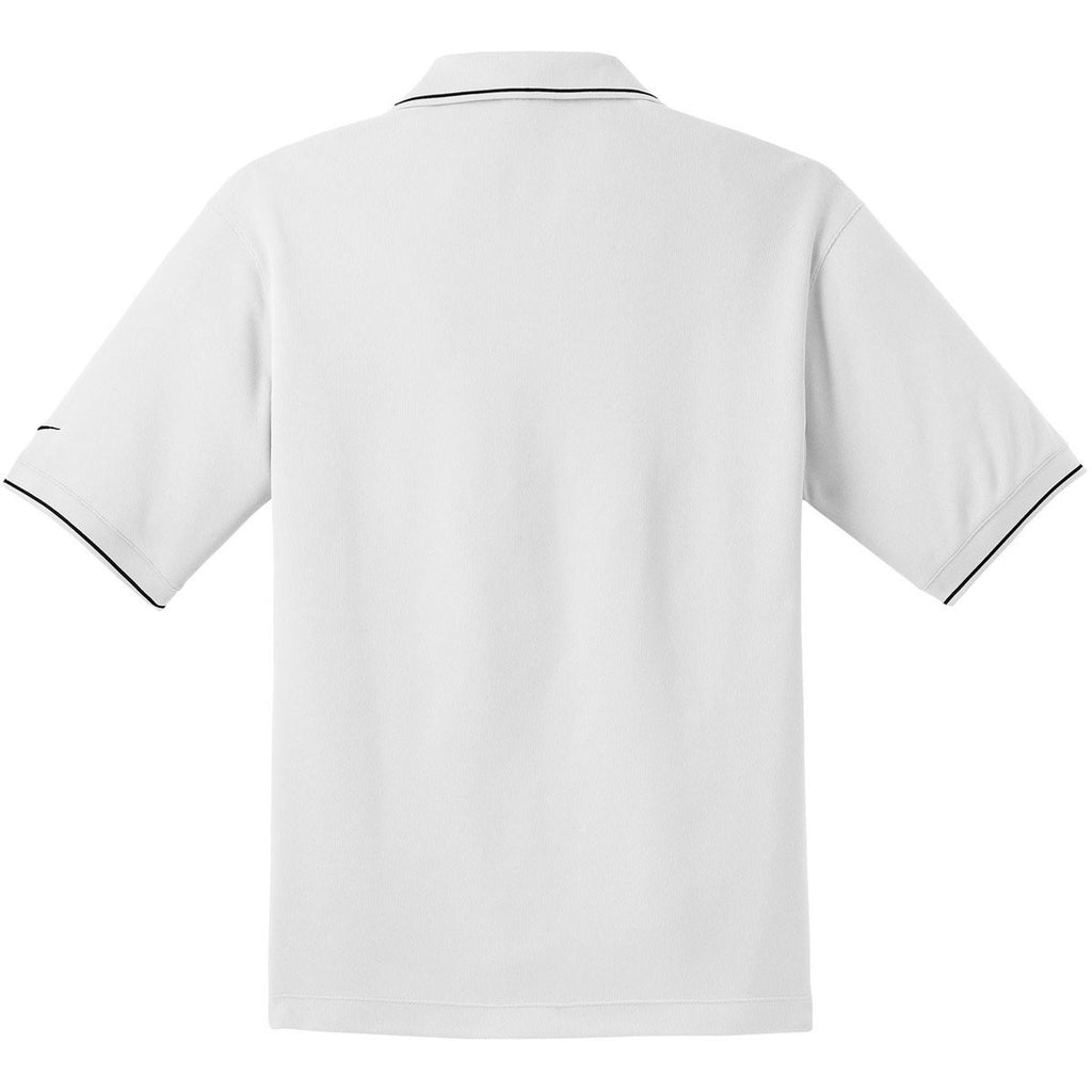 Nike Men's White Dri-FIT Short Sleeve Classic Tipped Polo
