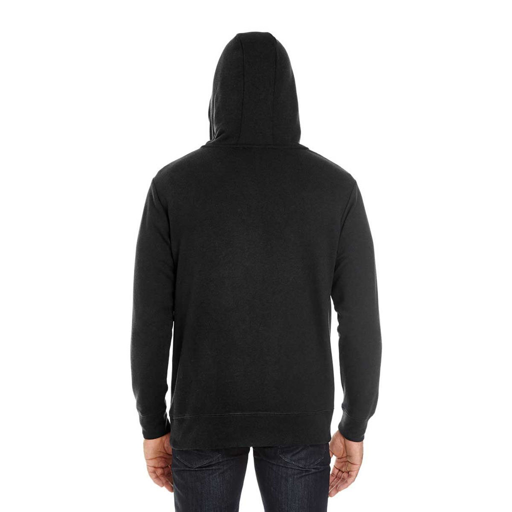 Threadfast Unisex Black Solid Triblend French Terry Hoodie