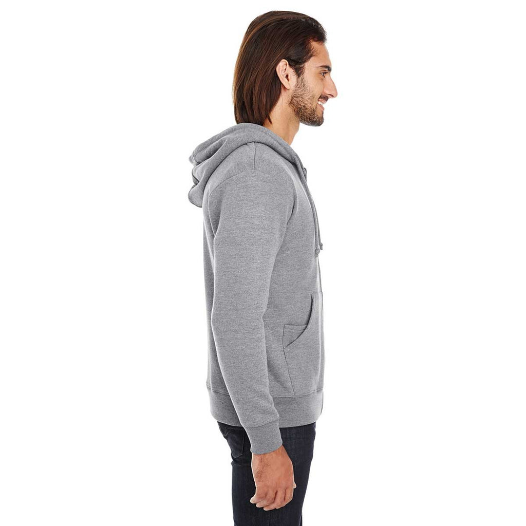 Threadfast Unisex Charcoal Heather Triblend French Terry Full-Zip